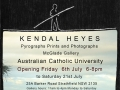 Pyrographs, Prints and Photographs, Australian Catholic University  Sydney  2012